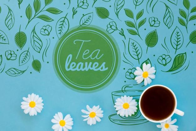 Tazza da tè di cancelleria con mock-up