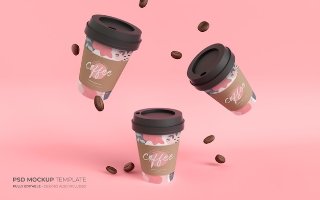 Tazze di caffè di carta e fagioli in mockup di gravità