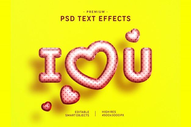 Te amo efecto de estilo de texto de globo de san valentín en amarillo
