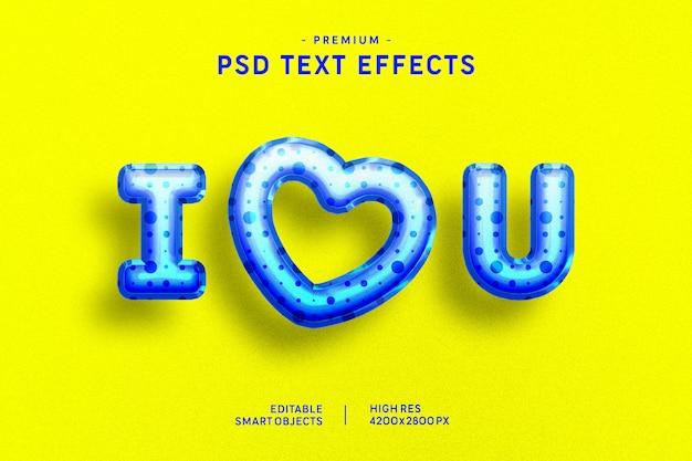 Te amo efecto de estilo de texto de globo de san valentín azul sobre amarillo