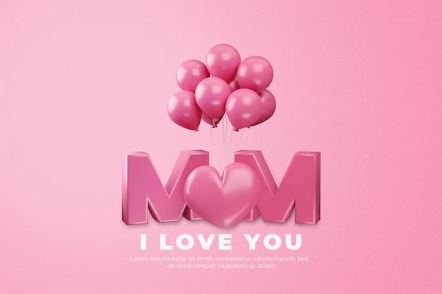 Te amo mamá feliz día de la madre representación 3d