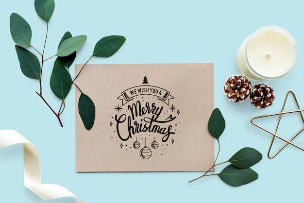 Te deseamos una feliz maqueta de tarjetas de navidad.