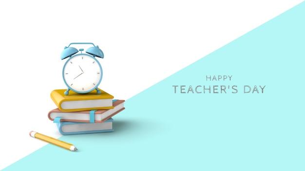 Teacher's day wenskaart psd-sjabloon. 3d render. boeken, notitieboekjes, potlood en timer