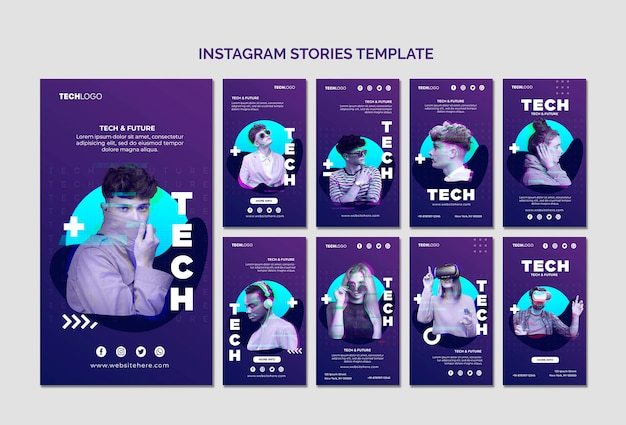 Tech & future instagram stories tempalte concept mock-up