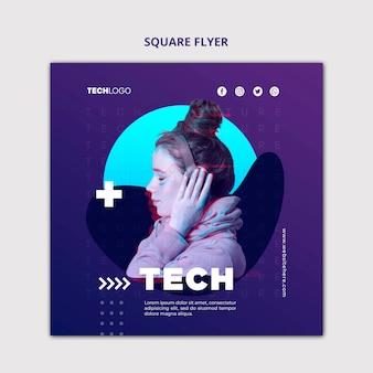 Tech & toekomstige vierkante flyer concept sjabloon