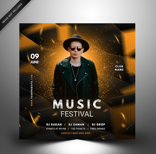 Techno dj music party template, flyer quadrato per instagram.