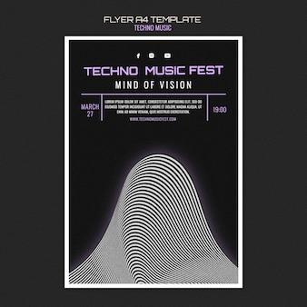 Techno muziek fest flyer