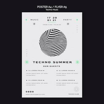 Techno muziek zomerfestival poster sjabloon