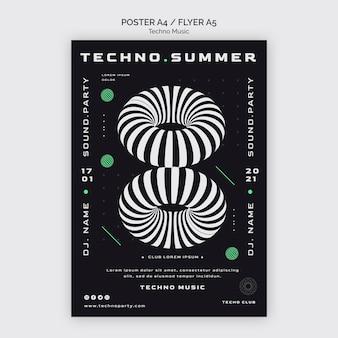 Techno muziekfestival poster sjabloon