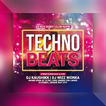 Techno verslaat party flyer