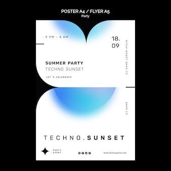 Techno zomerfeest poster sjabloon
