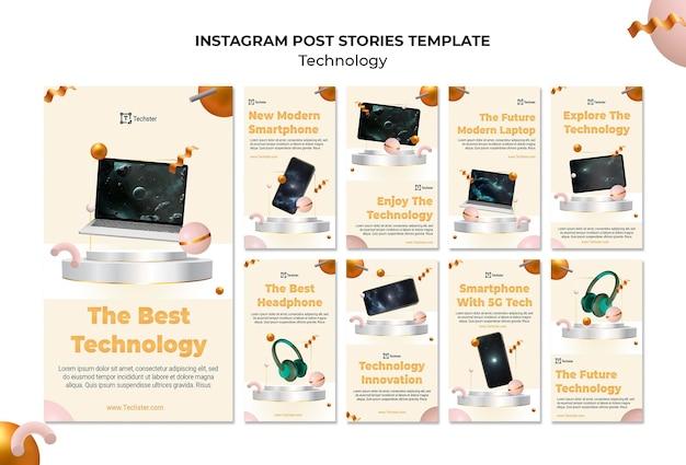 Technologie sociale media verhalen sjabloon met foto