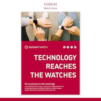 La tecnología llega a la plantilla de póster de relojes