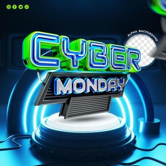 Tecnología realista cyber monday concepto etiqueta 3d render social media post