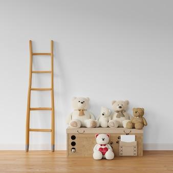 Teddybeer collectie op houten kist en trappen
