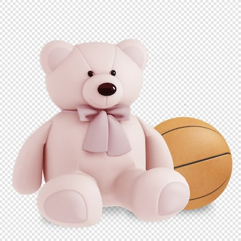 Teddybeer en bal in 3d-rendering