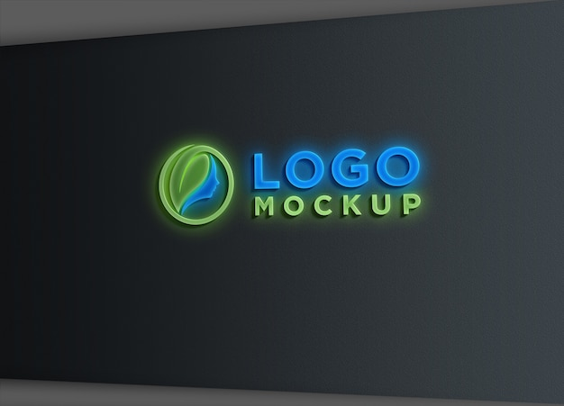 Teken wall light effect logo mockup