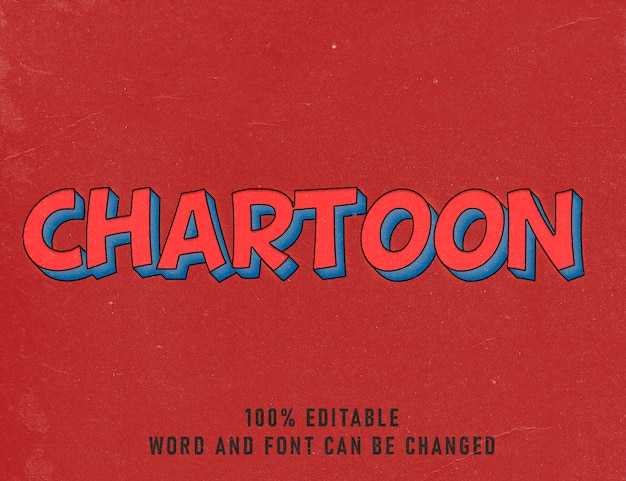 Tekenfilm teksteffect comic bewerkbare tekenkleurstijl vintage