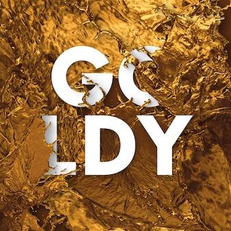 Tekst letters in splash vloeistof - goud