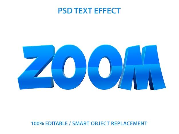 Teksteffect blauwe zoomsjabloon