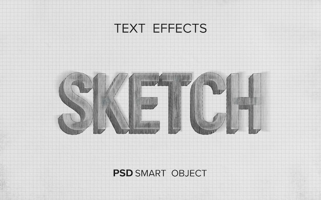 Teksteffect schrijven schetsstijl Gratis Psd