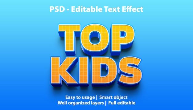 Teksteffect top kids-sjabloon