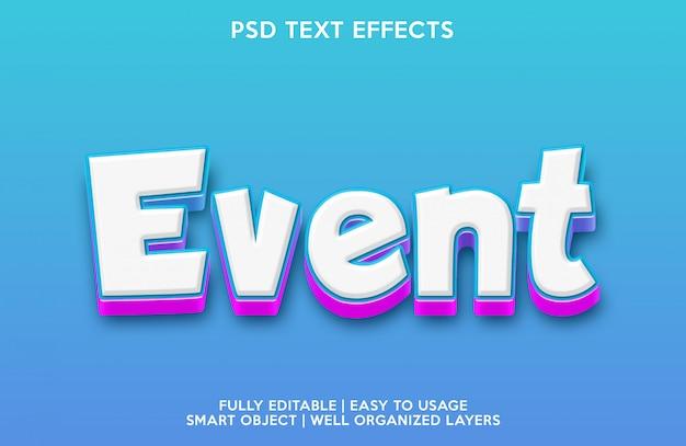 Teksteffect van gebeurtenis Premium Psd