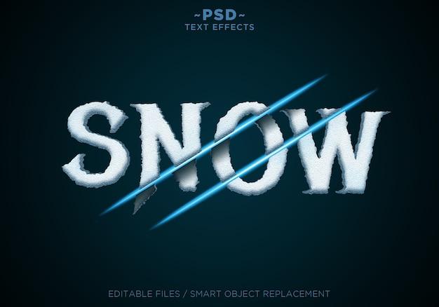 Tekstsjabloon met sneeuw gesneden effecten