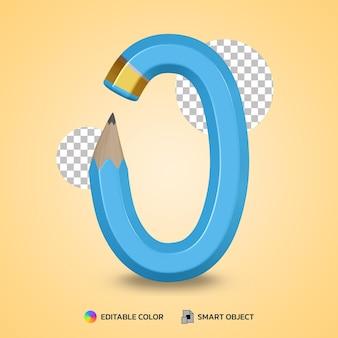 Tekststijl van nummer 0 flexibele potloodkleur geïsoleerd 3d-rendering