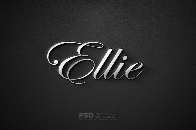 Tekststijleffect met luxe klassiek zilveren schrijfsjabloon
