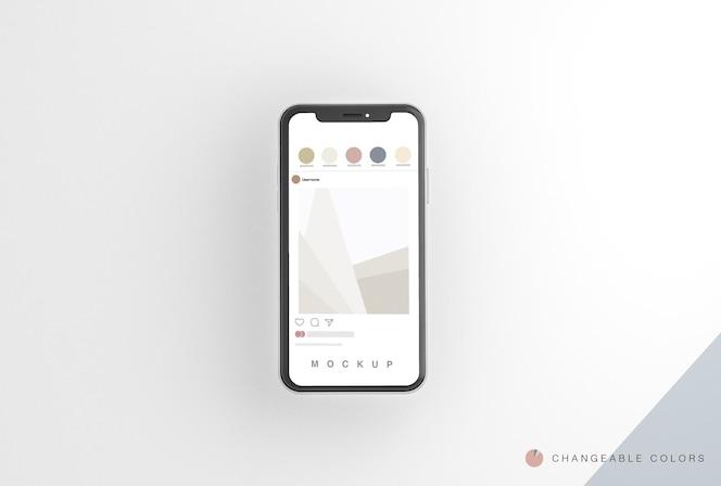 Teléfono 3d mínimo con maqueta de interfaz rrss levitando