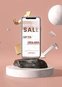Telefono cellulare 3d mock-up con marmo e supporto
