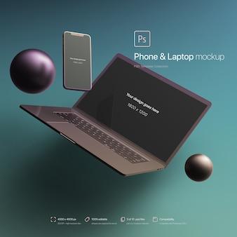 Teléfono y computadora portátil flotando en una maqueta de entorno abstracto