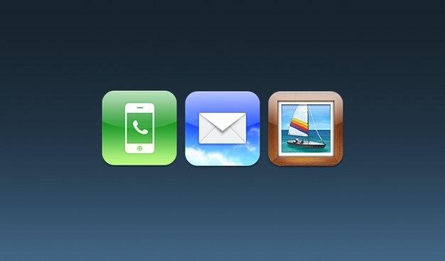 Teléfono, correo, fotos ios iconos