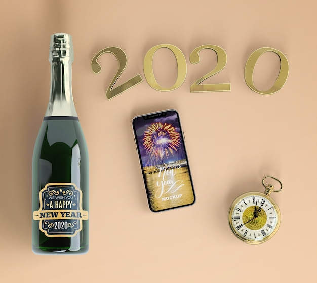 Telefono festivo mock-up con champagne