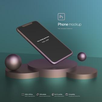 Teléfono flotando en una maqueta de entorno abstracto
