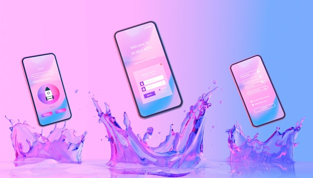 Teléfono inteligente con pantalla de login y fondo líquido colorido