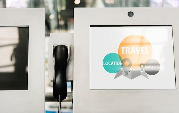 Teléfono y maqueta de pantalla de kiosco de información.