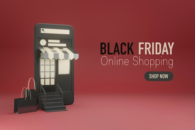 Teléfono móvil como frente a una tienda online en diseño 3d