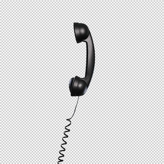 Teléfono negro sobre fondo blanco