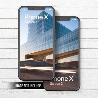 Telefono x mockup doppio schermo