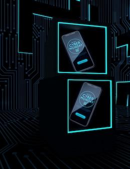 Teléfonos cibernéticos en marcos de neón
