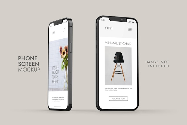 Telefoon en scherm - ui ux app-presentatiemodel