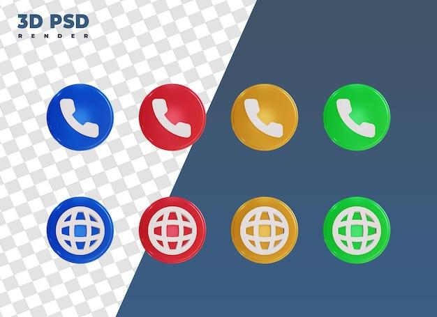 Telefoon en webdesign 3d render pictogram badge geïsoleerd