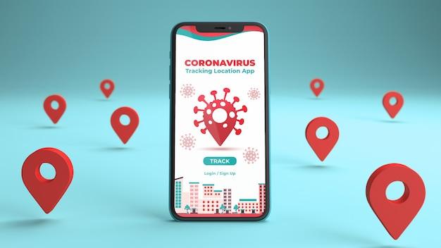 Telefoonmodel met een coronavirus-trackinglocatie-app