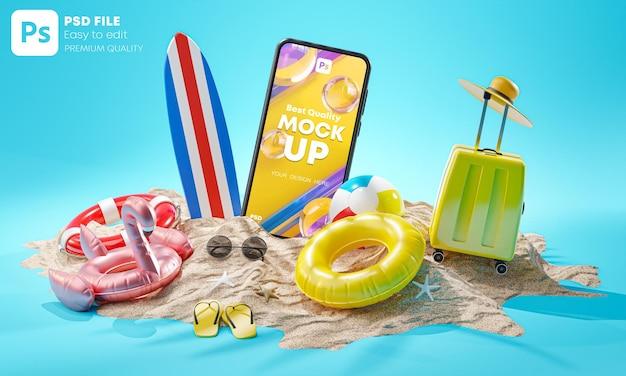 Telefoonmodel zomervakantie achtergrond concept strandaccessoires 3d-rendering