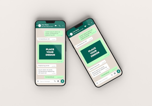Telefoons mockup-chat boven weergave