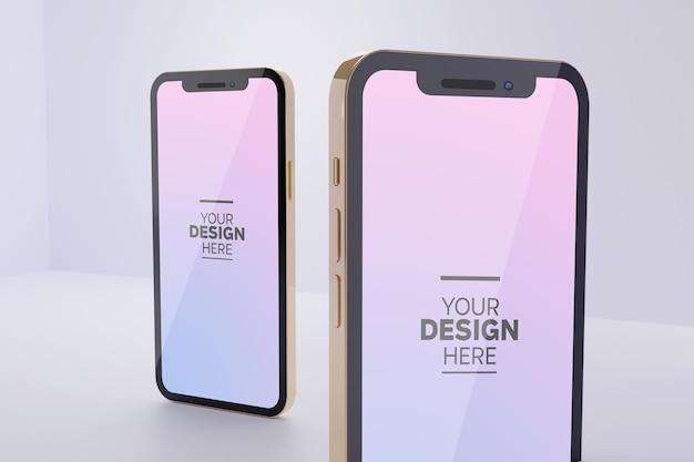 Telefoonscherm in mockup met verschillende hoeken