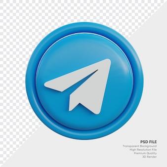 Telegram 3d-stijl logo concept icoon in ronde geïsoleerd