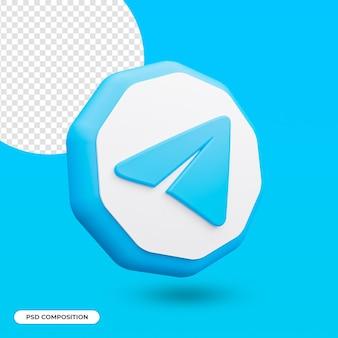Telegram app pictogram geïsoleerd in 3d-rendering